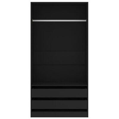 vidaXL Kledingkast 100x50x200 cm spaanplaat zwart