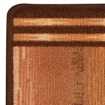 vidaXL Tapijtloper met gelbodem geblokt 67x120 cm beige