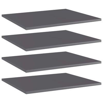 vidaXL Wandschappen 4 st 60x50x1,5 cm spaanplaat hoogglans grijs