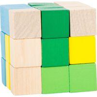 Small Foot bouwkubus blauw/groen/geel/blank 4,5 cm