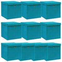 vidaXL Opbergboxen met deksels 10 st 32x32x32 cm stof babyblauw