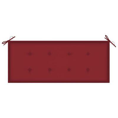 vidaXL Tuinbank met wijnrood kussen 120 cm massief teakhout