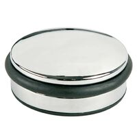 Deurstopper Alco metaal laag chroom, 1300 gram hoog 4cm