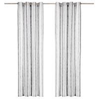 vidaXL Gordijnen met metalen ringen 2 st 140x225 cm katoen antraciet