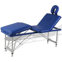 Massagetafel inklapbaar met aluminium frame (vier delen / blauw)