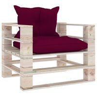 vidaXL Tuinbank met wijnrode kussens pallet grenenhout
