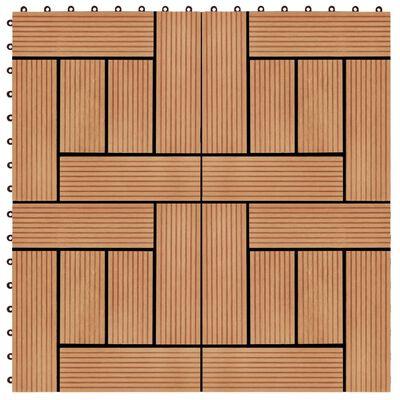 vidaXL 22 st Terrastegels 30x30 cm 2 m² HKC teakkleur