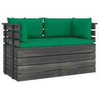 vidaXL Tuinbank 2-zits met kussens pallet massief grenenhout