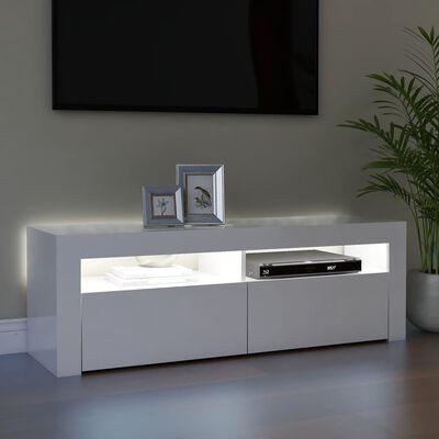 vidaXL Tv-meubel met LED-verlichting 120x35x40 cm hoogglans wit
