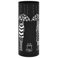 vidaXL Parapluhouder vrouwen staal zwart