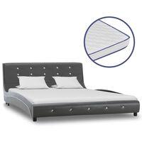 vidaXL Bed met traagschuim matras kunstleer grijs 140x200 cm