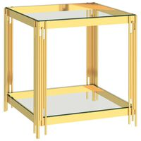 vidaXL Salontafel 55x55x55 cm roestvrij staal en glas goudkleurig