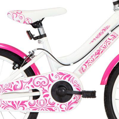 vidaXL Kinderfiets 18 inch roze en wit