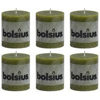 Bolsius Rustiekkaarsen 6 st 80x68 mm olijfgroen