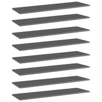 vidaXL Wandschappen 8 st 100x30x1,5 cm spaanplaat hoogglans grijs
