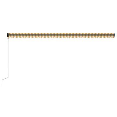 vidaXL Luifel uittrekbaar met windsensor en LED 600x300 cm geel en wit