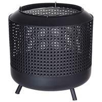 ProGarden Vuurkorf met barbecuerooster 50x51 cm zwart