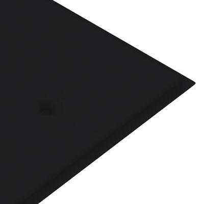 vidaXL Tuinbank met zwart kussen 150 cm massief teakhout