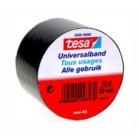 1x Tesa Universalband isolatietape zwart 20 mtr x 5 cm -