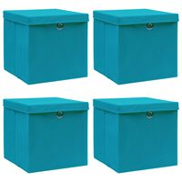 vidaXL Opbergboxen met deksels 4 st 32x32x32 cm stof babyblauw