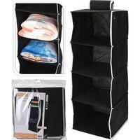 Relaxwonen Hangorganizer / Opvouwbare Hangkast - 4 Vakken Zwart,