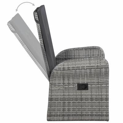 vidaXL Tuinstoelen 2 st verstelbaar met kussens poly rattan grijs