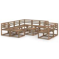 vidaXL 10-delige Loungeset bruin geïmpregneerd grenenhout