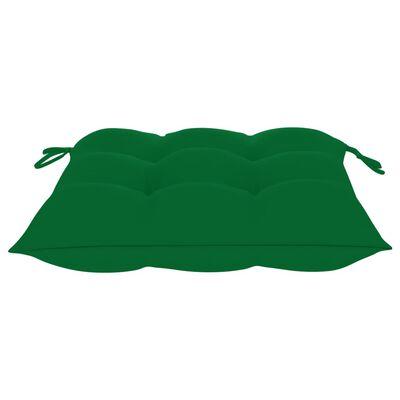 vidaXL Tuinstoelen 2 st met groene kussens massief teakhout