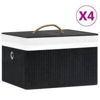 vidaXL Opbergboxen 4 st bamboe zwart