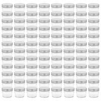 vidaXL Jampotten met zilverkleurige deksels 96 st 110 ml glas