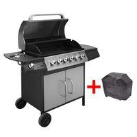 vidaXL Gasbarbecue 6+1 kookzone zwart en zilver
