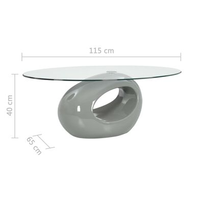 vidaXL Salontafel met ovaal glazen tafelblad hoogglans grijs