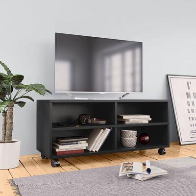 vidaXL Tv-meubel met wieltjes 90x35x35 cm spaanplaat zwart