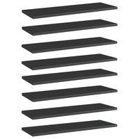 vidaXL Wandschappen 8 st 60x20x1,5 cm spaanplaat hoogglans zwart