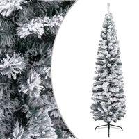vidaXL Kunstkerstboom met sneeuw smal 180 cm PVC groen