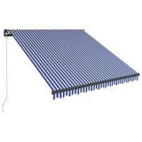vidaXL Luifel handmatig uittrekbaar met LED 350x250 cm blauw en wit