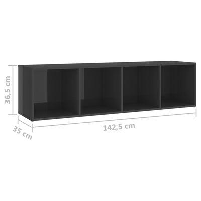 vidaXL Tv-meubelen 2 st 142,5x35x36,5 cm spaanplaat hoogglans grijs