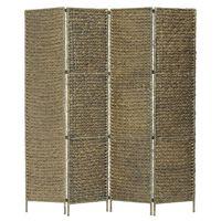 vidaXL Kamerscherm met 4 panelen 154x160 cm waterhyacint bruin