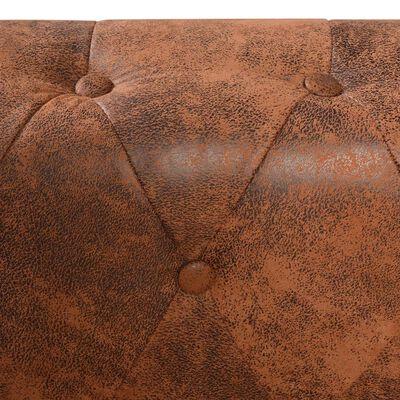 vidaXL Chesterfield hoekbank 6-zits kunstleer bruin