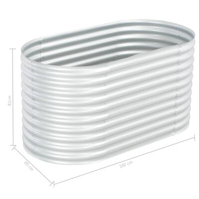 vidaXL Plantenbak verhoogd 160x80x81 cm gegalvaniseerd staal zilver