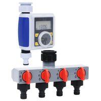 vidaXL Watertimer digitaal met enkele uitgang en waterverdeler
