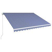 vidaXL Luifel handmatig uittrekbaar 450x300 cm blauw en wit