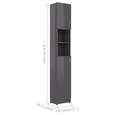 vidaXL Badkamerkast 32x25,5x190 cm spaanplaat hoogglans grijs