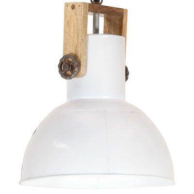 vidaXL Hanglamp industrieel rond 25 W E27 32 cm mangohout wit