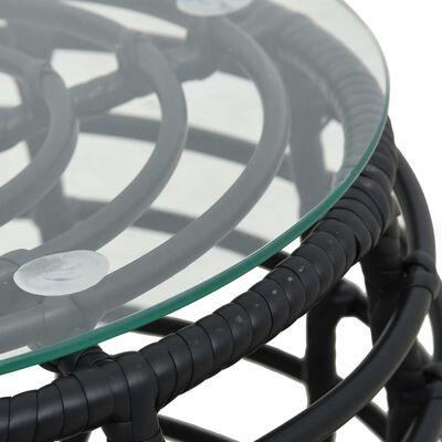 vidaXL 3-delige Bistroset poly rattan zwart