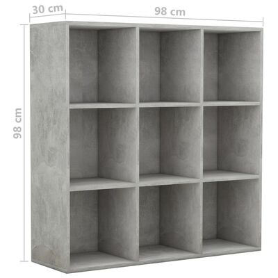 vidaXL Boekenkast 98x30x98 cm spaanplaat betongrijs