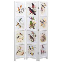 vidaXL Kamerscherm met 3 panelen vogel 105x165 cm wit