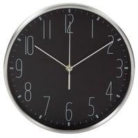 Perel Wandklok 25 cm zwart en zilverkleurig