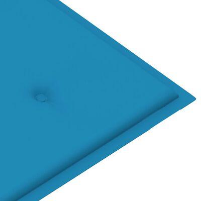vidaXL Tuinbank met blauw kussen 120 cm massief teakhout