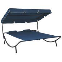 vidaXL Loungebed met luifel en kussens blauw